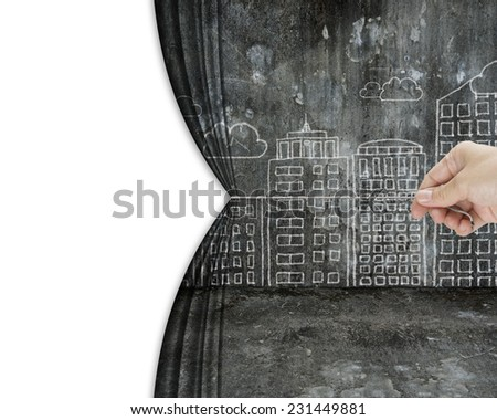 hand pull dirty cityscape doodles curtain discovered empty blank space, isolated on white background - stock photo
