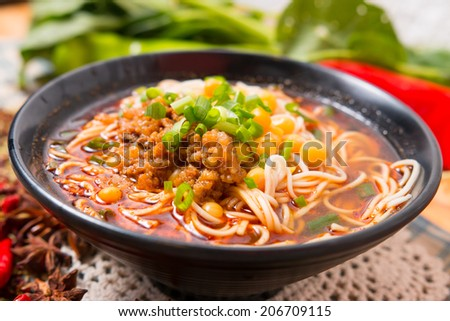 Hand-Pulled Noodle, popular in the China fast food - stock photo