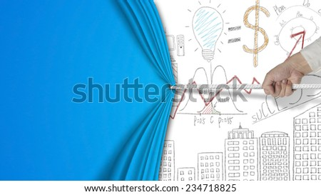 hand pulling blank curtain covered business concept chart doodles isolated on blue background - stock photo
