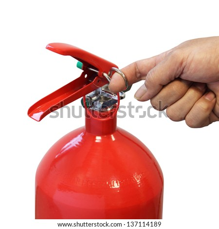 Hand pulling safety pin fire extinguisher isolated over white background - stock photo