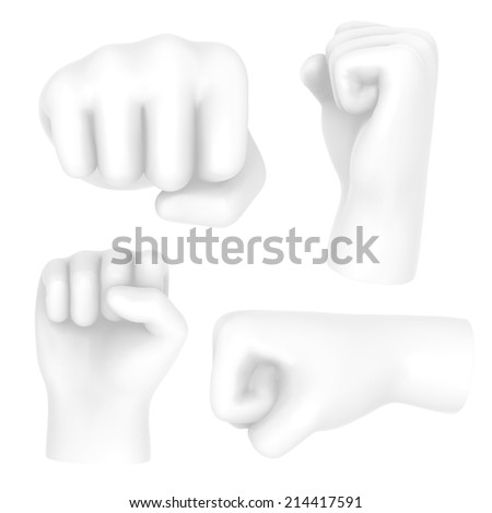 Hand punch fist white symbol set.isolated on white. Easy editable for your design.  - stock photo