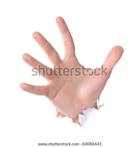 Hand punching through paper isolated on white background - stock photo