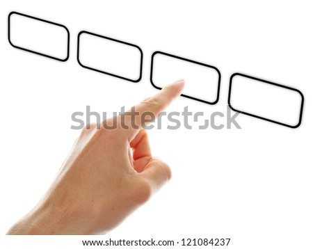 hand push a touch screen button on white background