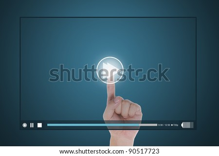hand push fast forward button on touch screen to run video clip - stock photo