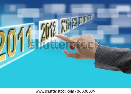 hand push on 2012 button technology virtual touch screen interface - stock photo