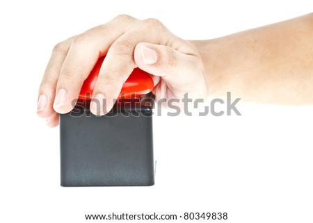Hand push on Red button - stock photo