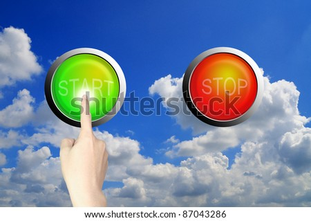 Hand push start button - stock photo