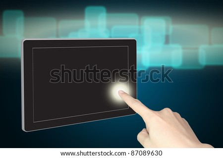hand push the dispaly of tablet pc