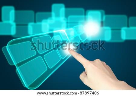 hand push transparent icon flying - stock photo