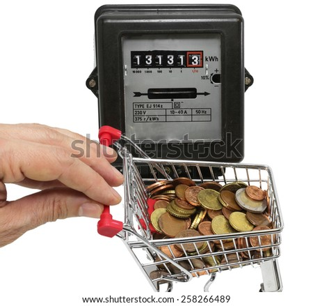 hand pushes a cart of European money to pay the electricity bills - stock photo