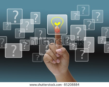 Hand pushing a Answer Button on a touch screen interface - stock photo