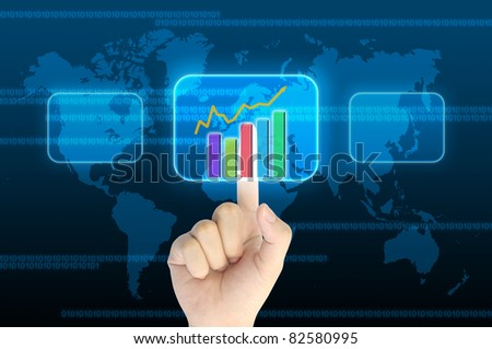 hand pushing a business graph on a touch screen interface - stock photo