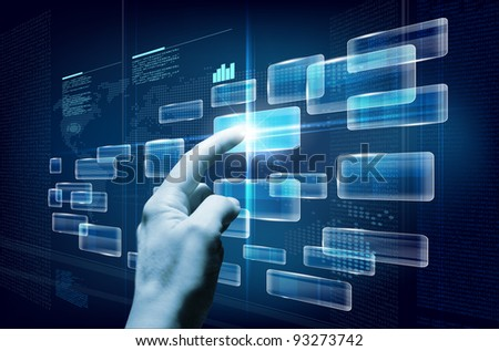 Hand pushing a button on a future touchscreen interface. Combination of photo and graphic. - stock photo