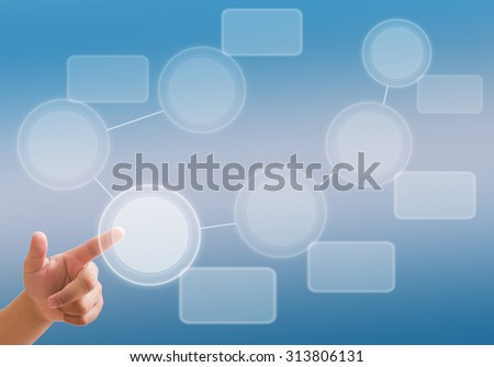 hand pushing a button on a touch screen interface - Business networking background - stock photo