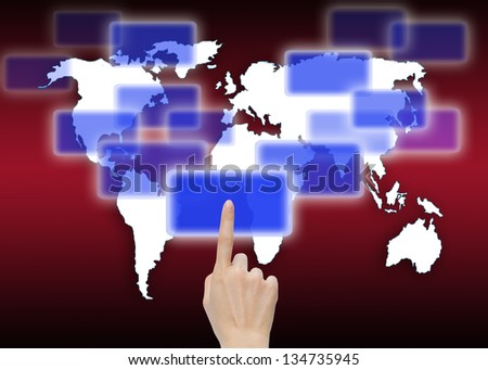 hand pushing a button on global map background - stock photo