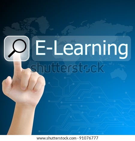 hand pushing a search button to find e-learning word on a touch screen interface - stock photo