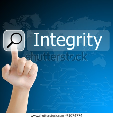 hand pushing a search button to find integrity word on a touch screen interface - stock photo