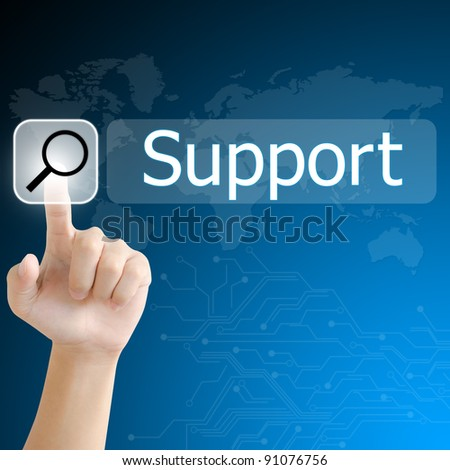 hand pushing a search button to find support word on a touch screen interface - stock photo