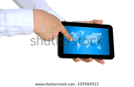 hand pushing a world map on a touch screen interface - stock photo