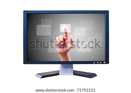 hand pushing button on Flat panel screen