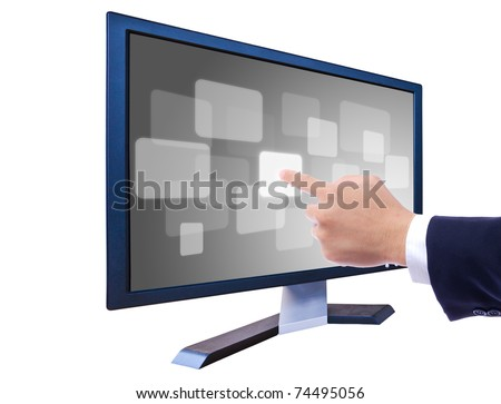 hand pushing button on LCD monitor