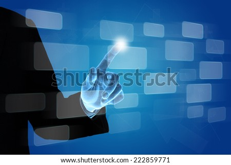 hand pushing button on touch screen interface, business concept - stock photo