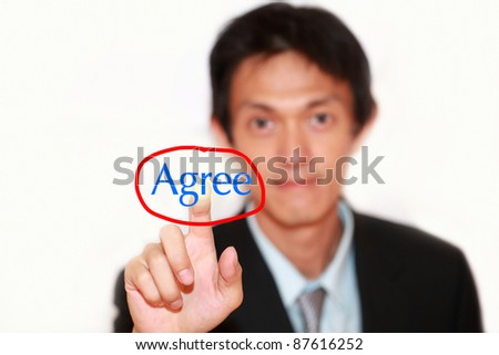 hand pushing buttons on touch agree word - stock photo