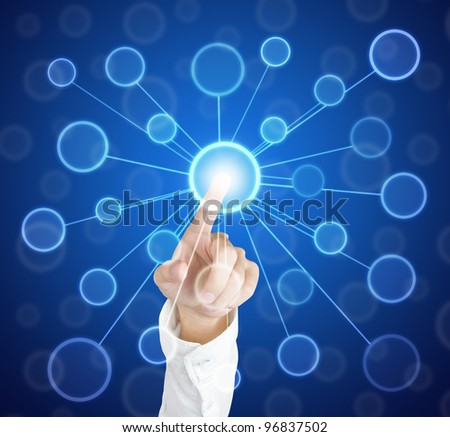 hand pushing centric link circle touch screen button - stock photo