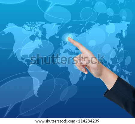 Hand pushing comment button on a touch screen interface