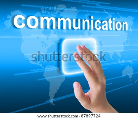 hand pushing communication button on a touch screen interface - stock photo
