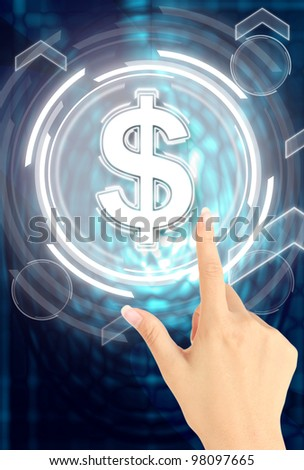 Hand pushing dollar button - stock photo