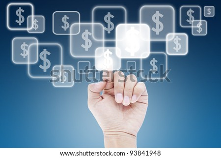 Hand pushing dollar button on touch screen. - stock photo