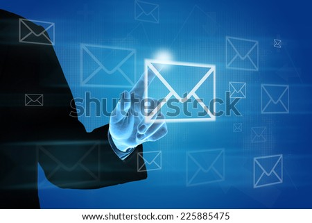 hand pushing e-mail icon on screen, business concept - stock photo