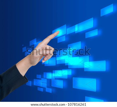 Hand pushing email button on a touch screen interface