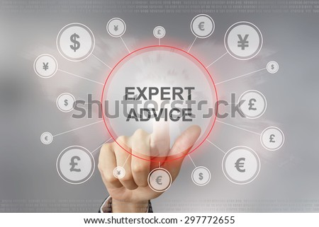 hand pushing expert advice button with global networking concept - stock photo