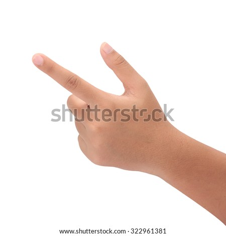 Hand pushing  isolated on white background with clipping path. - stock photo