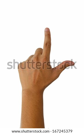 Hand Pushing. isolated on white with clipping path for all buttons.