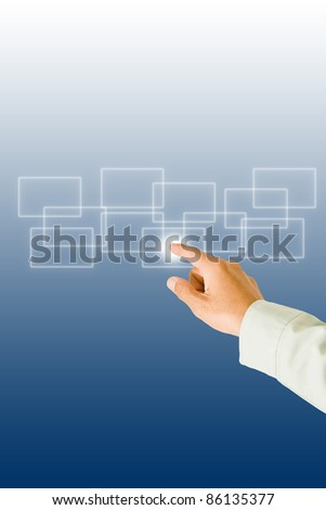 Hand pushing on a touch screen interface. - stock photo