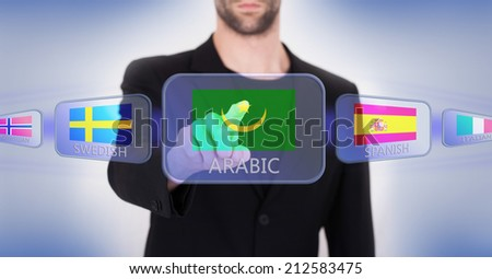 Hand pushing on a touch screen interface, choosing language or country, Mauritania - stock photo
