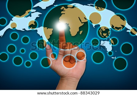 hand pushing on a touch screen interface to social network - stock photo