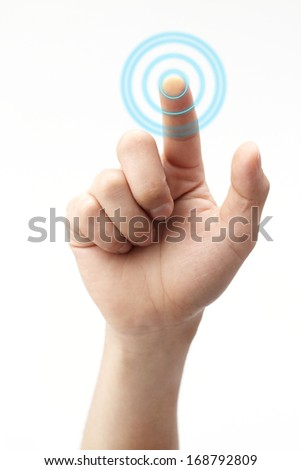 hand pushing on touch screen - stock photo