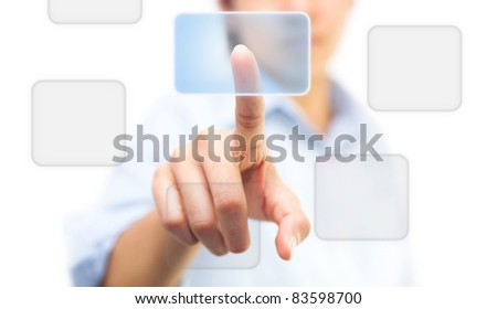 Hand pushing on touch screen icon, isolate on white - stock photo