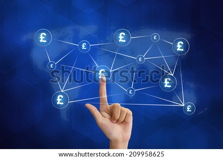 hand pushing pound currency networking with blue background - stock photo
