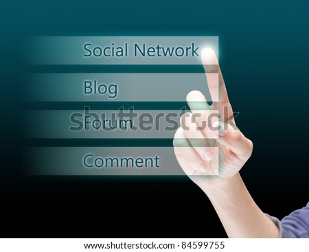 Hand pushing Social network touch screen - stock photo