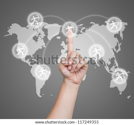 Hand pushing sport archer button on a touch screen interface - stock photo