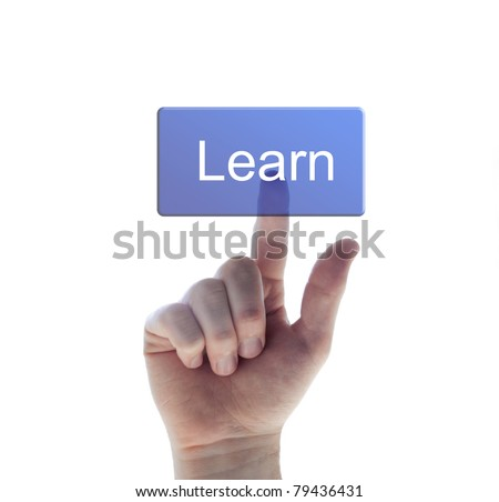 hand pushing the learn button - stock photo