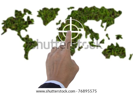 hand pushing the target for save the earth - stock photo
