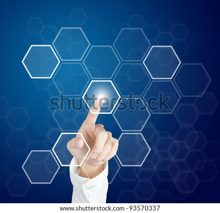 hand pushing touch screen button - stock photo