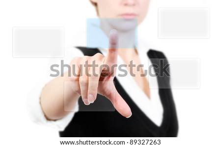 Hand pushing touch screen button, isolate on white background