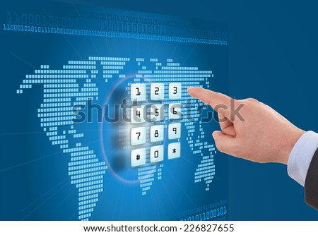 Hand pushing touch screen button with blue background with map - stock photo